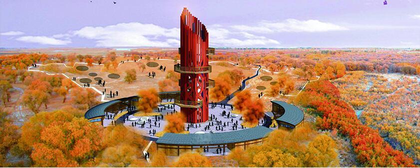 新疆阿瓦提沙漠公园胡杨林观景塔